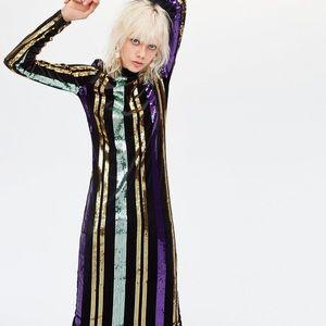 NWT Zara Black Velvet with Sequin Stripes